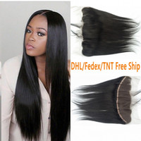 Wholesale Lace Front Closures Wholesale - Top Lace Frontal Closure 13x4 With Baby Hair G-EASY Brazilian Straight Human Hair Lace Front Closure