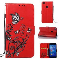 Wholesale huawei cell phone wallet for sale – best For Huawei P8 Lite P9 P10 ZTE Z981 LG G6 K7 K8 Strap Butterfly Flower Wallet Leather Case Card Slot Stand Luxury Cell Phone Cover
