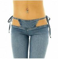 Wholesale Sexy Club Wear Jeans - Sexy Women Low Rise Waist Nightclub Jeans Sexy Bandage Hollow Low-waist Flare Pants Sexy Club Wear High Quality FX1065