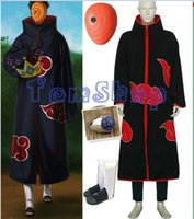Wholesale Naruto Costume Tobi - Wholesale-Anime Naruto Akatsuki Tobi Madara Uchiha Deluxe Edition Cosplay Costume 4 in 1 Wholesale Combo Set (Cloak + Mask + Boots +Ring)