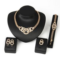Wholesale Gold Costume Jewelry Set - Cheap Costume Jewelry 18K Gold Plated Fashion Nigerian Wedding African Beads Jewelry Set Crystal Choker Statement Necklace Sets