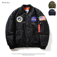 Wholesale Silver Man Cross - Fall-Flight Pilot Jacket Coat Bomber Ma1 Men Bomber Jackets Nasa Air Force Embroidery Baseball Military Coats M-XXL CD0002 CD0001