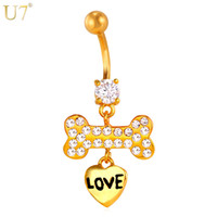 Wholesale Rhinestone Dog Bones - New Lovely Zircon Dog Bones Piercings Jewelry Women 18K Gold Plated   Platinum Heart Charms Navel Ring Body Jewelry DB011
