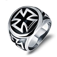 Wholesale Cross Ring Finger - Punk Style Men's Ring Cross Design Man Cocktail Ring Punk Style Stainless Steel Men's Finger Jewelry Gift Personality Charm Accessories 471