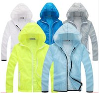 Wholesale Hooded Fashion Coats For Men - 2017 New Thin Sunscreen Men Jacket UV Protection Waterproof Windbreaker Man Outerwear Sport Running Fishing Hiking Coat For Lovers AMD003