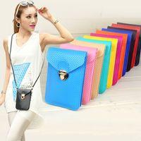 Wholesale Lady Cross Bag - Fashion Women Messenger Shoulder Bag Ladies Mini Bag Cell Phone PU Leather Plaid Tartan Purse Candy Colors Cross Body Bags