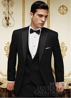 Wholesale Mens Yellow Blazer Jacket - Latest Design Two Button Black Groom Tuxedos Groomsmen Notch Lapel Best Man Suits Mens Wedding Blazer Suits (Jacket+Pants+Vest+Tie) NO:496