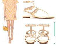Wholesale Mint Tie - high quality!U575 34 40 GENUINE LEATHER T STRAP RIVETS FLAT SANDals v matched stipes geometric designer runway celeb beach fashion women