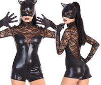 Wholesale Cat Woman Costume Spandex - SEXY PVC CAT WOMEN SUPER HERO DARK NIGHT FANCY DRESS HALLOWEEN COSTUME MS6736 MLXL