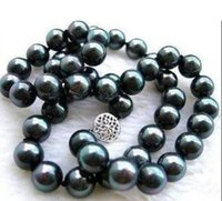 Wholesale Tahitian Pearls China - BEW REAL NATURAL TAHITIAN 9-10MM BLACK PEARL NECKLACE 18 inch