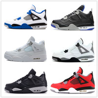 Wholesale Green 4s - Classic 4 4s toro bravo fear pack white cement men women basketball shoes sneakers bred high cut sports shoes US sizes 5.5-13