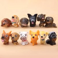 Wholesale Statue Home Decor - 12pcs Cartoon Kawaii Dogs Figurines Fairy Garden Miniatures Crafts Terrarium Tonsai Tool Statue Dollhouse Decor Home Accessories