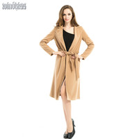 Wholesale Shawl Collar For Woman - Wholesale-2016 Women Winter Long Coat Shawl Collar Wool Blends Coats Casual Female Trench Coat brown Outerwear for Ladies