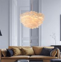 Wholesale Feather Pendant Lamp - Nordic Lantern Nest Feather Ceiling Chandelier Pendant Lamp DropLight Cafe Store