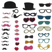 photos de chapeau d'anniversaire achat en gros de-Nouveau 2015, 36 pcs / lot accessoires de photomaton chapeau / moustache / lunettes / lèvres sur un bâton mariage / anniversaire / fête plaisir de faveur
