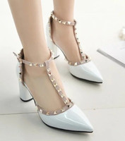 Wholesale Best Selling Highest Heels - Best sell dress shoes white rivet high heels paillette shoes party evening shoes bridal wedding shoes yzs168