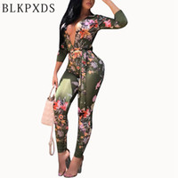 Wholesale Bodysuit Spandex Clubwear - Hot Sale Jumpsuits for Woman Green Flower Print Long Sleeve Bodysuit Sexy Elegant Jumpsuit Clubwear Clothes Night Dress Playsuits