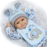 Wholesale Reborn Doll Clothes Boy - Fashion Doll 55CM Soft Silicone Dolls Reborn dolls with Boy blue clothes Pacifier Christmas Gifts For Girls