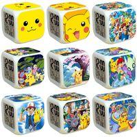 Wholesale Mechanical Digital Clock - New arrival Anime Digimon Poke pikachu Glowing LED Colorful Changed Digital Alarm Clock Night Light For Kids Birthday Christmas Gifts