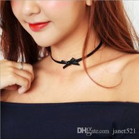 Wholesale Bowtie Necklaces - Fashion Necklaces Black Leather Bowtie Chokers Necklaces Chuncky Necklaces Gifts For Her