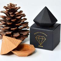 Wholesale Small Pendant Gift Boxes - Fashion Diamond Shape Wooden Boxes Small Jewelry Ring Box Wedding Ring Earring Pendant Jewelry Display Gift Box