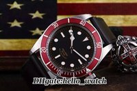 Wholesale Bay Auto - Luxury Brand Watch 79220R-0002 Black Bay 42mm Mens Watch 79220R Automatic Mechanical 79220B-0002 Red Bezel Black Leather Strap Mens Watch