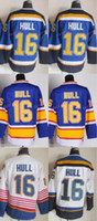 Wholesale Discounted Hockey Jerseys - Discount St. Louis Blues #16 Brett Hull Jersey CCM Blue Red White Cheap Stitched Hockey Jerseys C Patch Best Quality Mix Order