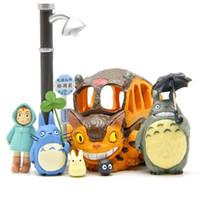 Wholesale toy chinchilla online - 8pcs Totoro figures toys New PVC Japanese Anime Satsuki Mei Jicha car Chinchilla cat bus