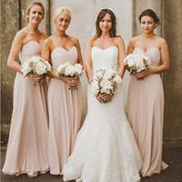 dama de honor escote corazón al por mayor-Barata de la alta calidad de los vestidos de Bridemaids una línea de novia de escote sin mangas Blush acanalada largo de la gasa palabra de longitud dama de honor vestidos