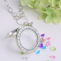 Wholesale Necklaces Glass Factory - Hot white K gold plated floating charms round glass photo locket pendant necklace jewelry with 60cm chain Factory direct sale