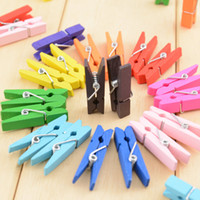 Wholesale Mini Paper Clips - Mini Spring Clips Clothespins Beautiful Design 35mm Colorful Wooden Craft Pegs For Hanging Clothes Paper Photo Message Cards
