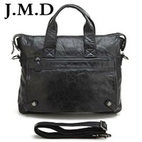 Wholesale Laptop Hand Bag Briefcase Messenger - Wholesale- J.M.D 2017 Fashion Black Leather Hand bag Men Genuine Leather Messenger Bag Briefcase Laptop Bag Shoulder Bags 7120