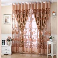 pcs cm elegante de ventana cortinas de lujo del patrn floral de la gasa de la puerta de la cortina con los granos ventana mantn decoracin de