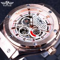 Wholesale Male Scrubs - Winner Sport Luxury Series Matte Scrub Silicone Rubber Band Men Watch Top Brand Luxury Automatic Skeleton Male Wrist Watch Clock