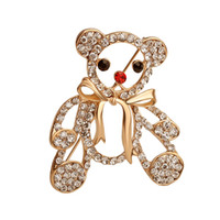 Wholesale Delicate Crystal Brooches - 2016 Bear Shape Brooch pins Simple Delicate Crystal Fashion Loved Clothes Sweater Accessories Brooches Gold Colored ZJ-0903617