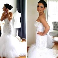 Wholesale lace wedding gown boleros - 2016 New Arrival Mermaid Lace Wedding Dresses Beads Sequins Crystals Jewel Neck Detachable bolero Button Wedding Dress Bridal Gown