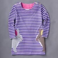 Wholesale Long Striped Summer Dresses - Girls Dress Baby Gilrl Long Sleeve Stripe Dresses For Spring Animal Pattern Top 100% cotton 5 p l