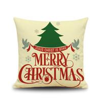 kırmızı kuş çizgi filmi toptan satış-Noel günü yastık örtüsü 44 cm * 44 cm bel bolster geyik kafası çift baykuş kırmızı meyve karikatür kuş doğal kumaş büyük nefes ...