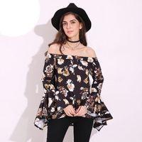 Wholesale Shirt Frill - Womens Blouses 2018 Floral Off Shoulder Irregular Peplum Frill Sexy Long Sleeve Loose Blouses Tops Shirt
