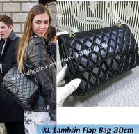 Wholesale large black genuine leather handbag - 2018 Women's Fashion Shoulder Bags 30CM Black Lambskin Large Quilted Double Flap Bag burgundy 1113 Female Genuine Leathe Handbags