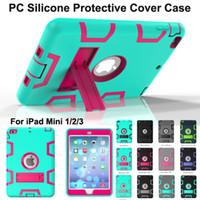 Wholesale Ipad Mini Smart Rubber Case - NEW Kickstand Hybrid 3 in 1 Robot Protection Case PC + Silicone Rubber Armor Stand Cover Case for ipad mini 1 mini 2 3