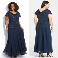 Wholesale Mother Bride Fabrics - Plus Size Mother of the Bride Dresses Scoop Neck Short Sleeves Navy Sequined Fabric and Chiffon Full Figure Mother of the Groom Dresses