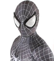 Wholesale Men S Halloween Masks - adult marvel lycra black&white Amazing Spiderman Costume Cosplay mask lens Halloween costume spider man
