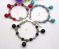 Wholesale Silver Turquoise Coral Tibetan Bracelet - beautiful handmade Tibet Tibetan silver Turquoise, coral, Black Agate bracelet free shipp +gift 6592
