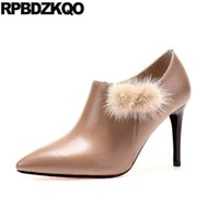 Stiletto Booties Ankle 2017 Pelle Reale Real Leather Pelle Genuine Leather Beige Side Zip Boots puntato punta Autunno Short Mink Scarpe Lusso