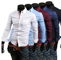 Wholesale Dress Shirts For Mens - NEW Men's Long Sleeve Shirts Cotton Lapel Mens Slim Fit Casual Shirts For Men Busi ness Shirts