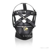 Wholesale adult sex leather bondage gear - 2017 BDSM Sex Toys Black Leather Head Harness With Muzzle Leather Muzzle Bondage Restraint Gear Adult Sex Product A990
