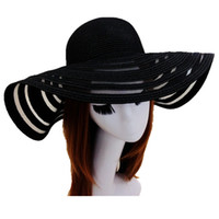Wholesale Wide Brimmed Hats For Women - Mesh Straw Felt Beach Sun Hat Folding Summer Caps For Women 4 Colors Free Shipping