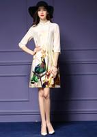 Wholesale Elegant Silk Standing - 2016 European Fashion Cheongsam Retro Elegant Embossing Stand Collar Plate Buttons Silk Split Woman Summer Dress