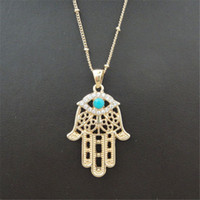 Étnicas Hamsa Fátima Hand Charm Pendant Colares para Mulheres Homens Evil Eye Embutidos Turquoise Bohemian Style Gold Plated Acessórios